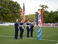 Kansas City, MO - Saturday May 07, 2016: The national anthem is preformed before a regular season National Women's Soccer League (NWSL) match at Swope Soccer Village. Houston won 2-1.