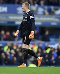 Everton goalkeeper Jordan Pickford during the premier league match at Goodison Park Stadium, Liverpool. Picture date 7th April 2018. Picture credit should read: Robin Parker/Sportimage
