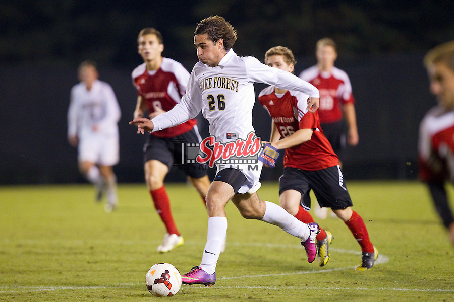 Philip Parker (26) of the Wake Forest Demon Deacons controls the ball during second half action against the Davidson Wildcats at Spry Soccer Stadium on October 22, 2013 in Winston-Salem, North Carolina.  The Demon Deacons defeated the Wildcats 4-0.  (Brian Westerholt/Sports On Film)