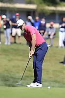 Lucas Bjerregaard (DEN) putts on the 5th green during Saturday's Round 3 of the 2018 Omega European Masters, held at the Golf Club Crans-Sur-Sierre, Crans Montana, Switzerland. 8th September 2018.<br /> Picture: Eoin Clarke | Golffile<br /> <br /> <br /> All photos usage must carry mandatory copyright credit (&copy; Golffile | Eoin Clarke)