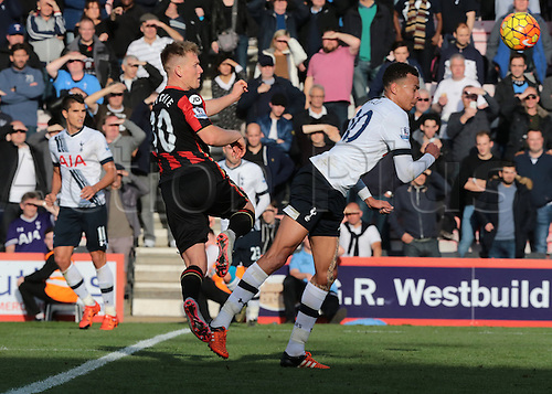 25.10.2015. Vitality Stadium, Bournemouth, England. Barclays Premier League. Bournemouth versus Tottenham Hotspur. Matt Ritchie of Bournemouth's shot is blocked by Dele Alli of Tottenham Hotspur