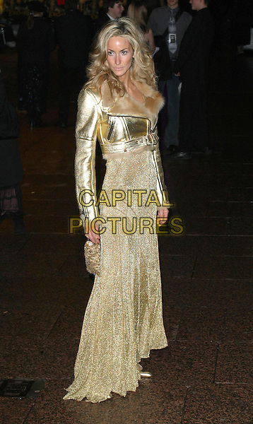 LISA BUTCHER.Lord Of The Rings: The Return of The King Premiere, Odeon, Leicester Square, London.Ref: Ten.full length, full-length, gold dress.www.capitalpictures.com.sales@capitalpictures.com.©Capital Pictures