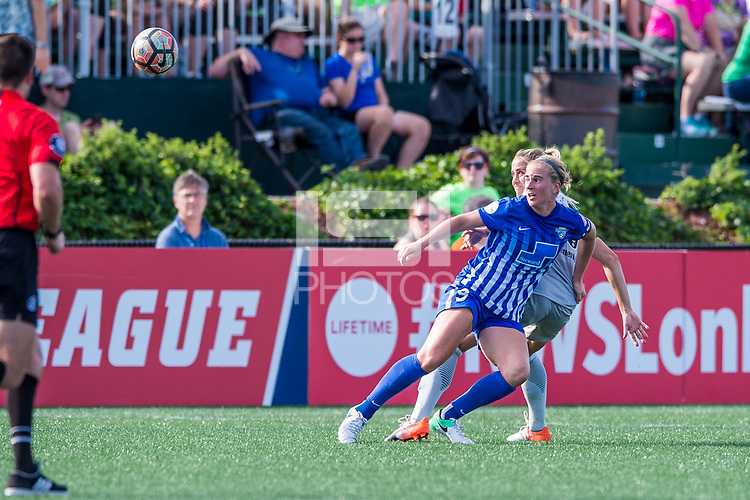Boston, MA - Saturday June 24, 2017: Natasha Dowie and Abby Dahlkemper during a regular season National Women's Soccer League (NWSL) match between the Boston Breakers and the North Carolina Courage at Jordan Field.