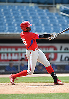 Demi Orimoloye (45) of St. Matthews Catholic High School in Orleans, Ontario, Canada playing for the Philadelphia Phillies scout team during the East Coast Pro Showcase on August 2, 2014 at NBT Bank Stadium in Syracuse, New York.  (Mike Janes/Four Seam Images)