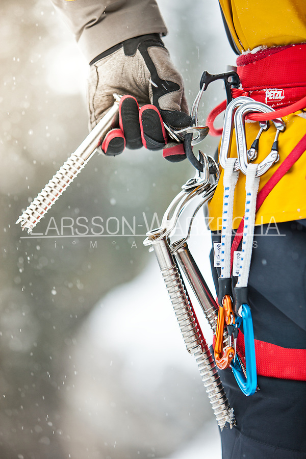 Gordon McArthur gearing up for some ice climbing, BC, Canada