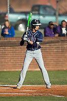 Tyler Delos (2) of the Mallard Creek Mavericks at bat against the Glenn Bobcats at Dale Ijames Stadium on March 22, 2017 in Kernersville, North Carolina.  The Bobcats defeated the Mavericks 12-2 in 5 innings.  (Brian Westerholt/Four Seam Images)