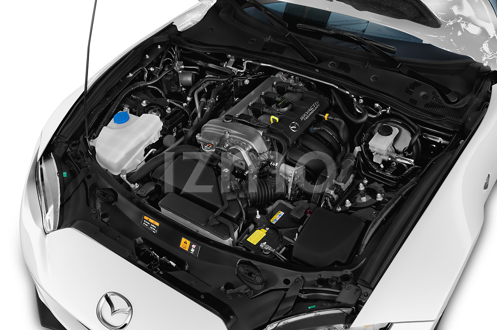Car stock 2017 Mazda MX-5 RF First Edition 2 Door Targa engine high angle detail view