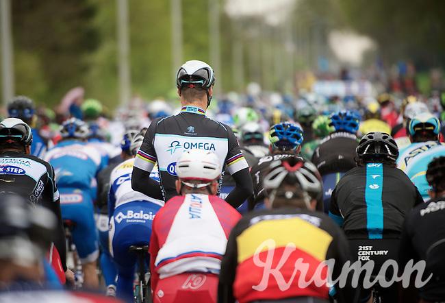 Tom Boonen (BEL/OPQS) relaxed in the peloton (before the official start)<br /> <br /> Ronde van Vlaanderen 2014
