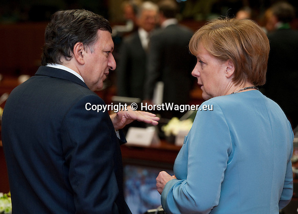 Brussels-Belgium - May 23, 2012 -- European Council, informal EU-summit meeting by Heads of State / Government; here, José (Jose) Manuel BARROSO (le), President of the European Commission, with Angela MERKEL (ri), Federal Chancellor of Germany -- Photo: © HorstWagner.eu
