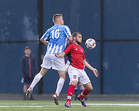 Malden, Massachusetts - June 23, 2018:  In a National Premier Soccer League (NPSL) match, Boston City FC (red/white) tied Seacoast United Mariners (blue/white), 1-1, at Brother Gilbert Stadium on Donovan Field.