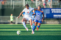 Allston, MA - Sunday, May 22, 2016: FC Kansas City defender Brittany Taylor (13) and Boston Breakers forward Kyah Simon (17) during a regular season National Women's Soccer League (NWSL) match at Jordan Field.