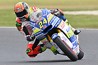 October 27, 2018: Simone Corsi (ITA) on the No.24 KALEX from Tasca Racing Scuderia Moto2 during the Moto2 practice session three at the 2018 MotoGP of Australia at Phillip Island Grand Prix Circuit, Victoria, Australia. Photo Sydney Low