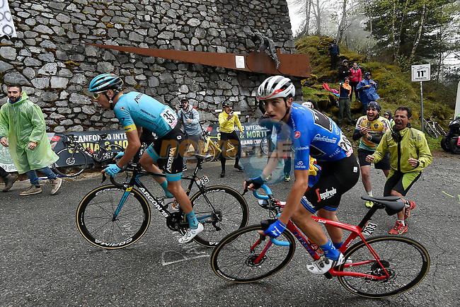 Maglia Azzurra Giulio Ciccone (ITA) Trek-Segafredo and Jan Hirt (CZE) Astana Pro Team lead the race up the Mortirolo climb during Stage 16 of the 2019 Giro d'Italia, running 194km from Lovere to Ponte di Legno, Italy. 28th May 2019<br /> Picture: Fabio Ferrari/LaPresse | Cyclefile<br /> <br /> All photos usage must carry mandatory copyright credit (© Cyclefile | Fabio Ferrari/LaPresse)