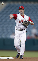 Adam Kennedy of the Los Angeles Angels makes a throw during a 2002 MLB season game at Angel Stadium, in Anaheim, California. (Larry Goren/Four Seam Images)