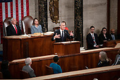 Jens Stoltenberg, Secretary General of the North Atlantic Treaty Organization (NATO) addresses a joint session of the United States Congress in the US Capitol in Washington, DC on Wednesday, April 3, 2019.  Looking on from the left are US Vice President Mike Pence, left, and Speaker of the US House of Representatives Nancy Pelosi (Democrat of California), right.<br /> Credit: Ron Sachs / CNP
