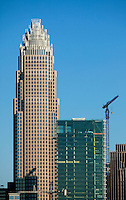 Bank of America's shiny (glassy) new tower in downtown Charlotte, NC, was still under construction early 2010.