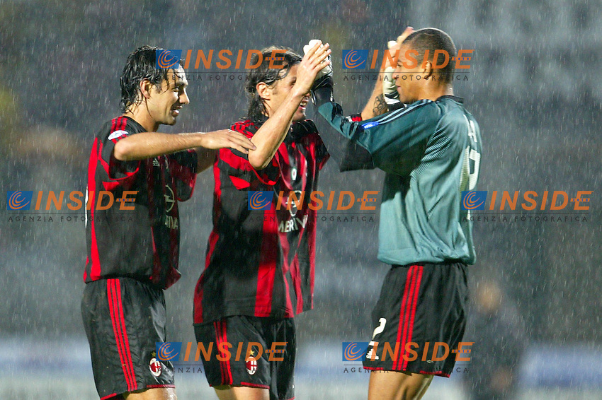 Siena 17/4/2004 Campionato Italiano Serie A <br /> 30a Giornata - Matchday 30 <br /> Siena Milan 1-2 <br /> Alessandro Nesta (left), Paolo Maldini (center) and Nelson Dida (right) celebrate victory at the end of the match<br />  Foto Insidefoto