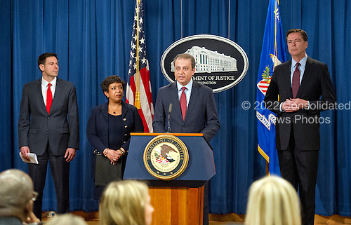 United States Attorney Preet Bharara of the Southern District of New York makes opening remarks at a press conference at the Department of Justice in Washington, DC on Thursday, March 24, 2016.  They announced criminal charges against seven individuals working on behalf of the Iranian government for conducting cyber attacks against the US financial sector and the Bowman Dam in Rye, NY.  From left to right: Assistant Attorney General for National Security John Carlin; US Attorney General Loretta Lynch; US Attorney Bharara; and FBI Director James Comey.<br /> Credit: Ron Sachs / CNP<br /> (RESTRICTION: NO New York or New Jersey Newspapers or newspapers within a 75 mile radius of New York City)