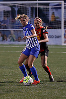 Rochester, NY - Friday May 27, 2016: Boston Breakers midfielder Louise Schillgard (10) and Western New York Flash forward Courtney Niemiec (23). The Western New York Flash defeated the Boston Breakers 4-0 during a regular season National Women's Soccer League (NWSL) match at Rochester Rhinos Stadium.