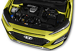 Car Stock 2018 Hyundai Kona Limited 5 Door SUV Engine  high angle detail view