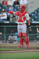 Memphis Redbirds catcher Alberto Rosario (37)  during the Pacific Coast League game against the Iowa Cubs at Principal Park on June 6, 2016 in Des Moines, Iowa.  Memphis won 6-2.  (Dennis Hubbard/Four Seam Images)