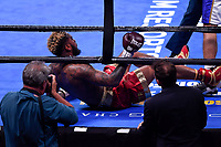 """Fairfax, VA - May 11, 2019: Julian J-Rock"""" Williams knocks down Jarrett Hurd in the second round during their Jr. Middleweight title fight at Eagle Bank Arena in Fairfax, VA. Julian Williams defeated Hurd to take home the IBF, WBA and IBO Championship belts by unanimous decision. (Photo by Phil Peters/Media Images International)"""