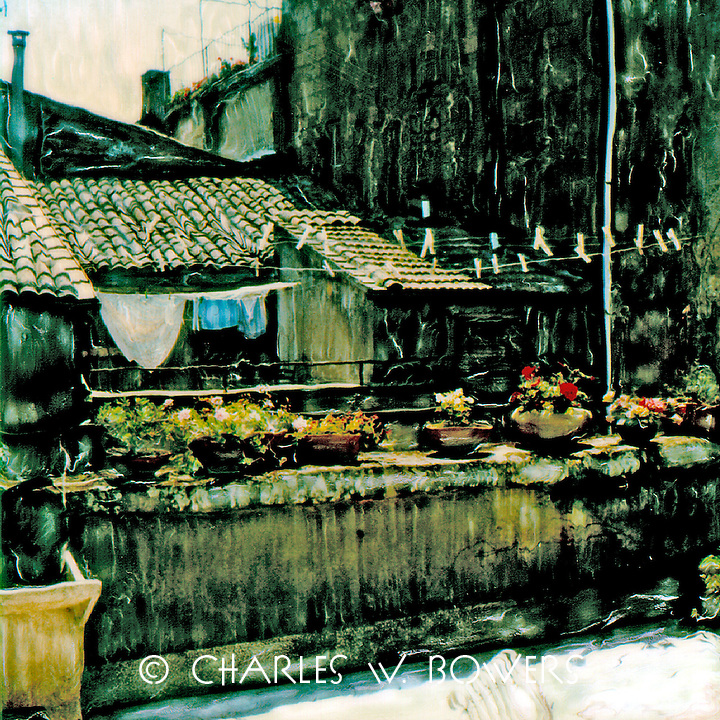 The roof patios of many homes in Tuscan villages serve as the place to hang the daily laundry.<br /> <br /> -Limited Edition of 50 Prints