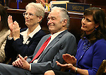 From left, Janet and Jack Heller and their daughter-in-law Lynne Heller listen as U.S. Sen. Dean Heller speaks to the Nevada Legislature, in Carson City, Nev., on Monday, April 6, 2015. <br /> Photo by Cathleen Allison