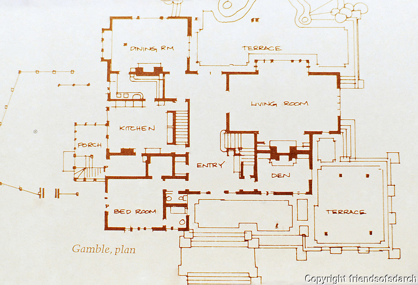 Greene & Greene:  House plan for Gamble House, Pasadena, CA 1908.