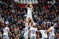 Jonny Hill of Exeter Chiefs wins the ball at a lineout. Aviva Premiership match, between Leicester Tigers and Exeter Chiefs on September 30, 2017 at Welford Road in Leicester, England. Photo by: Patrick Khachfe / JMP