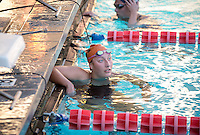 Rose Seabrook '17 after competing in the women's 1000 yard freestyle. The Occidental College swim team competes against Lewis & Clark College and Westminster College in Taylor Pool on Jan. 6, 2015. (Photo by Marc Campos, Occidental College Photographer)