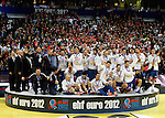 Second placed Serbian national handball team players celebrate after men`s EHF EURO 2012 handball championship  in Belgrade, Serbia, Sunday, January 29, 2011.  (photo: Pedja Milosavljevic / thepedja@gmail.com / +381641260959)