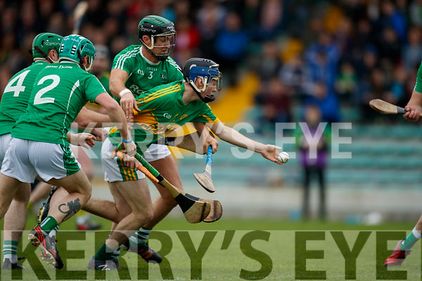 Padraig O'Grady Ballyduff in action against Shane Conway Lixnaw in the Senior County Hurling Final in Austin Stack Park on Sunday
