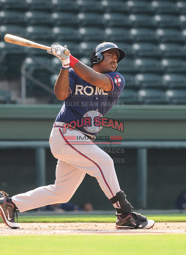 First baseman William Beckwith of the Rome Braves, an Atlanta Braves affiliate, in a game against the Greenville Drive on July 6, 2012, at Fluor Field at the West End in Greenville, South Carolina. Greenville won, 4-0. (Tom Priddy/Four Seam Images)