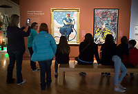 NWA Democrat-Gazette/CHARLIE KAIJO Students from Holy Family Cathedral School of Tulsa, Okla. look at an art piece called &quot;Rosie the Riveter&quot;, Friday, March 2, 2018 at Crystal Bridges in Bentonvile.<br />