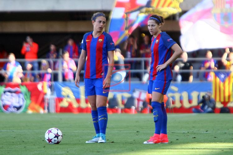 UEFA Women's Champions League 2016/2017.<br /> Semifinals.<br /> FC Barcelona vs Paris Saint Germain: 1-3.<br /> Alexia Putellas &amp; Vicky Losada.
