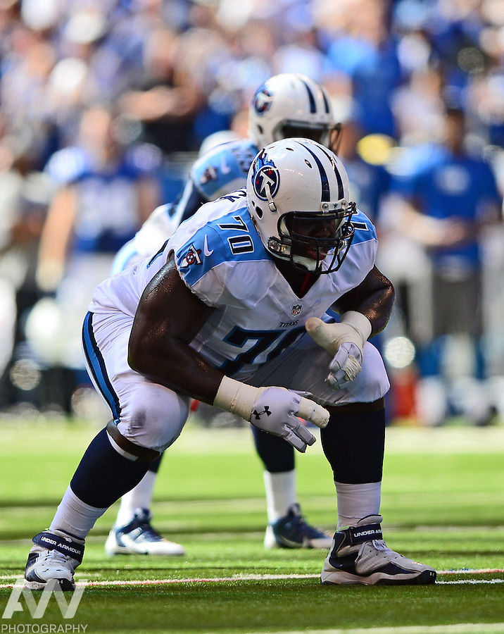 Sep 28, 2014; Indianapolis, IN, USA; Tennessee Titans guard Chance Warmack (70) against the Indianapolis Colts at Lucas Oil Stadium. Mandatory Credit: Andrew Weber-USA TODAY Sports