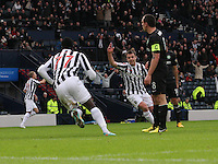 Paul McGowan salutes Esmael Goncalves after scoring in the St Mirren v Celtic Scottish Communities League Cup Semi Final match played at Hampden Park, Glasgow on 27.1.13.