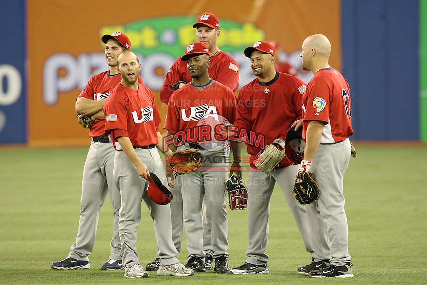 March 8, 2009:  David Wright, Dustin Pedroia, Adam Dunn, Jimmy Rollins, Kevin Youkilis, and Shane Victorino of Team USA during batting practice before the first round of the World Baseball Classic at the Rogers Centre in Toronto, Ontario, Canada.  Team USA defeated Venezuela  15-6 to secure a spot in the second round of the tournament.  Photo by:  Mike Janes/Four Seam Images