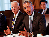 United States President Barack Obama meets with Combatant Commanders and Joint Chiefs of Staff with Vice President Joe Biden (L) in the Cabinet Room of the White House, in Washington, DC, April 5, 2016. <br /> Credit: Aude Guerrucci / Pool via CNP