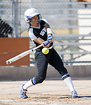 Western Nevada's Bailey Henderson hits against Colorado North Western at Edmonds Sports Complex Carson City, Nev., on Friday, March 18, 2016.<br /> Photo by Jeff Mulvihill, Jr.