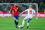 Spain's Dani Carvajal Macedonia's Ezgjan Alioski  during the match of European qualifying round between Spain and Macedonia at Nuevo Los Carmenes Stadium in Granada, Spain. November 12, 2016. (ALTERPHOTOS/Rodrigo Jimenez)