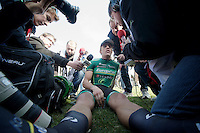 111th Paris-Roubaix 2013..first french finisher (5th) Damien Gaudin (FRA) mobbed by french press.