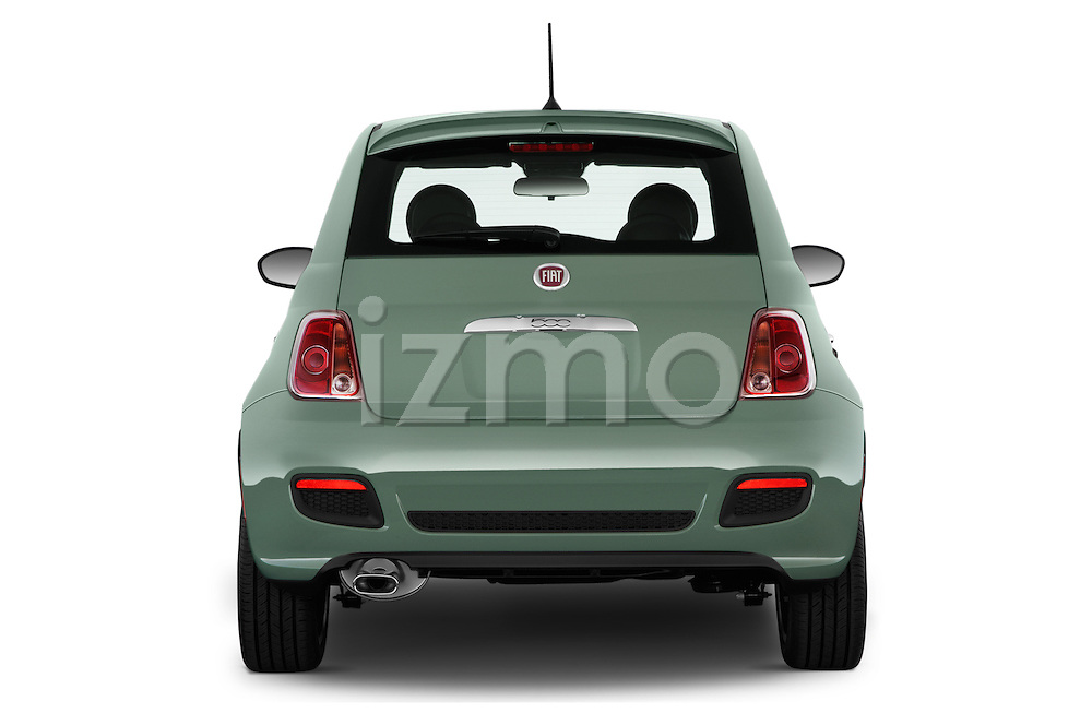 Straight rear view of 2016 Fiat 500 Sport 3 Door Hatchback Rear View  stock images