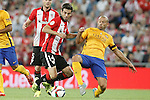 Athletic de Bilbao's Markel Susaeta (l) and FC Barcelona's Javier Mascherano during Supercup of Spain 1st match.August 14,2015. (ALTERPHOTOS/Acero)