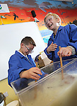 Welsh Water - National Science Week 2012..Pupils Dylan Evans & Amber Smallman from Abercerdin Primary School. ..10.03.12.©STEVE POPE