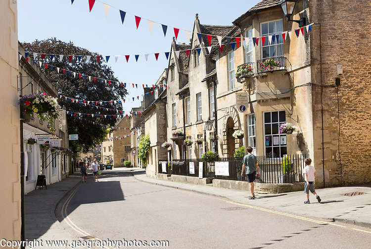 Historic buildings along the High Street in town of Corsham, Wiltshire, England, UK