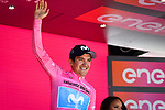 Race leader Richard Carapaz (ECU) Movistar Team retains the Maglia Rosa at the end of Stage 20 of the 2019 Giro d'Italia, running 194km from Feltre to Croce d'Aune-Monte Avena, Italy. 1st June 2019<br /> Picture: Massimo Paolone/LaPresse | Cyclefile<br /> <br /> All photos usage must carry mandatory copyright credit (© Cyclefile | Massimo Paolone/LaPresse)