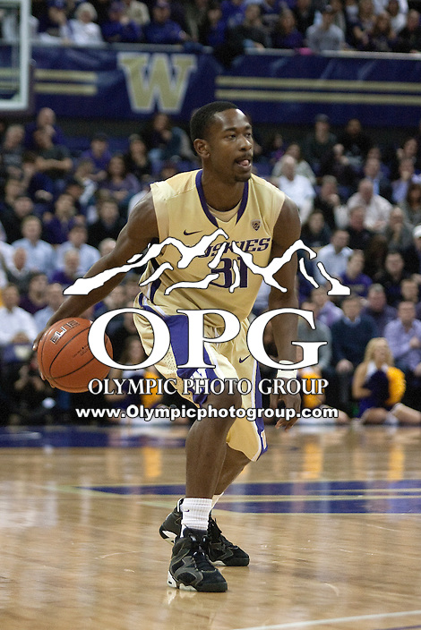 Feb 2, 2012:  Washington's #31 Terrance Ross brings the ball down court against UCLA.  Washington defeated UCLA 71-69 at Alaska Airlines Arena Seattle, Washington...