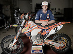 BAJA CALIFORNIA, MEXICO - NOVEMBER 14:  Kurt Casselli of of the FMF/Bonanza Plumbing KTM poses for a portrait out his bike in the KTM Shop on November 14, 2013 in Baja California, Mexico. (Photo by Donald Miralle for ESPN the Magazine) *** Local Caption ***Kurt Casselli
